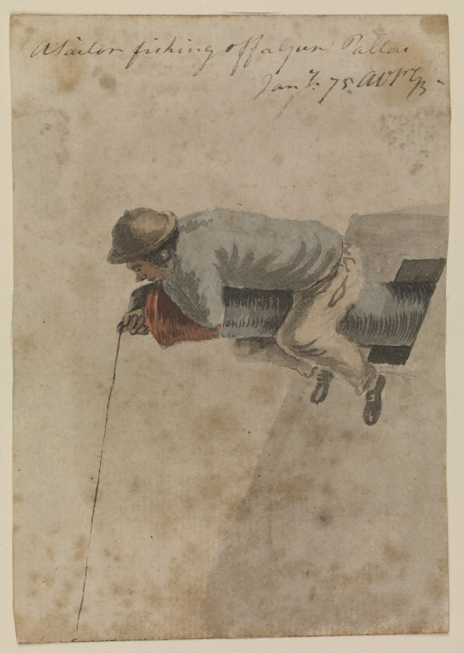 'A Sailor fishing off a gun [on the] Pallas' [Bray album] © National Maritime Museum, Greenwich, London.