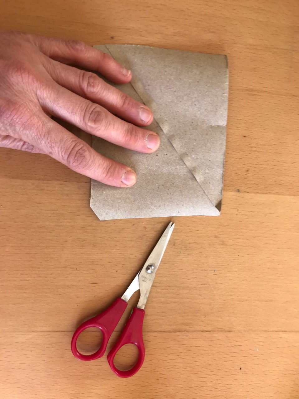 A person's hand flattens a loo roll. A pair of red scissors are placed nearby.