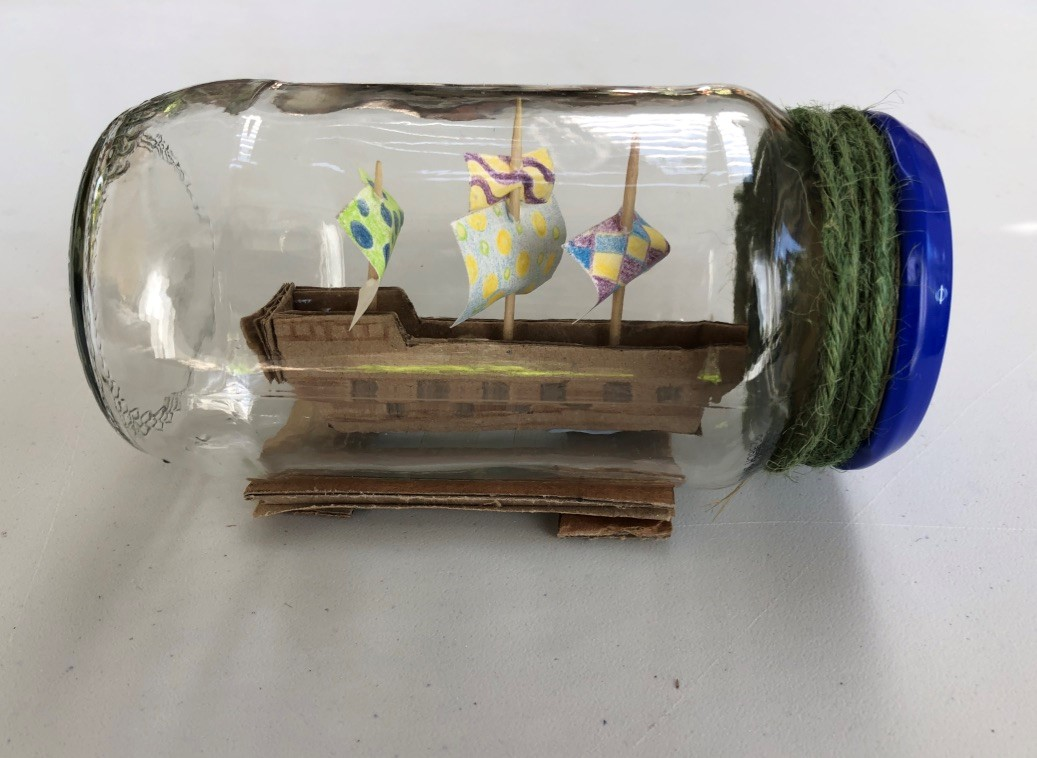 craft activity of a ship in a bottle.