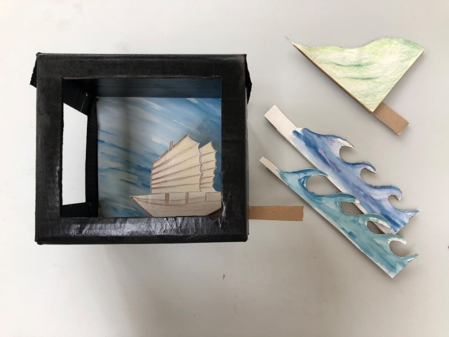 A drawn ship can be seen through a cut out window in a cardboard box. To one side are drawings of waves and a cliff
