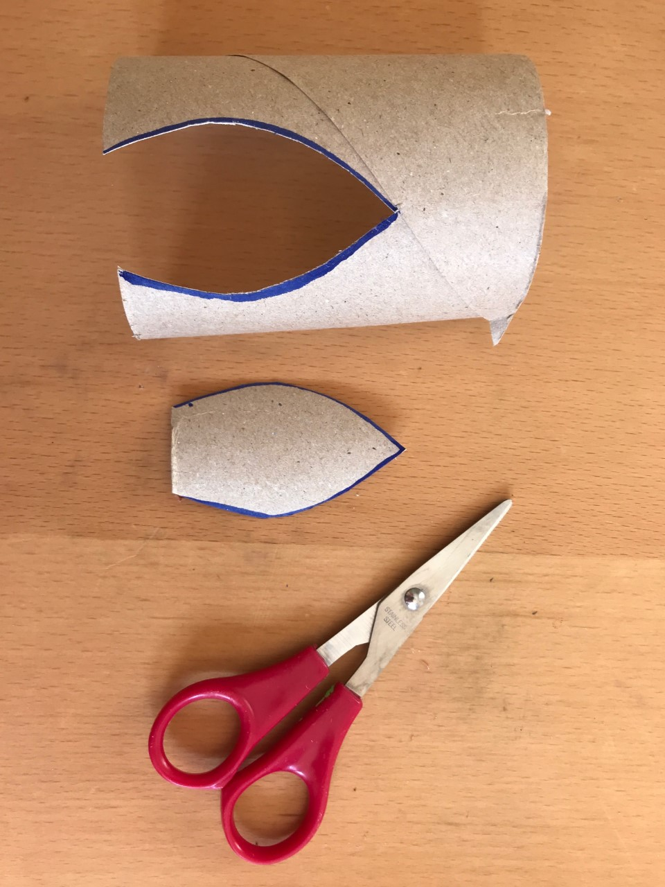 Image shows a leaf shape cut out of a loo roll. The cut out piece is next to the tube and a pair of red scissors lie nearby.