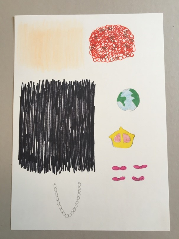 A piece of white paper has lots of patches coloured in on it in different colours. A small drawing of Earth, a crown, a peral necklace and pink ribbons have also been included.