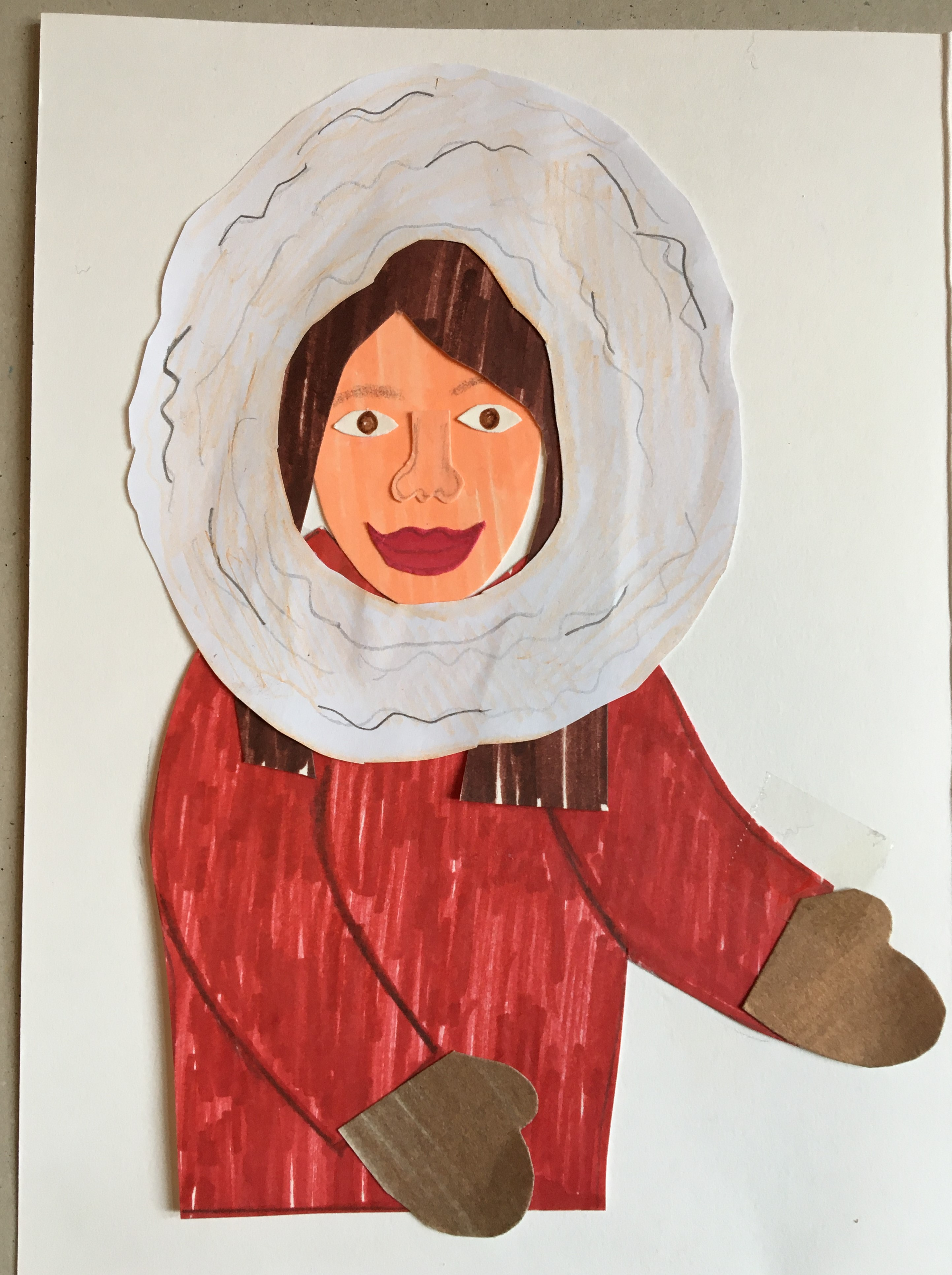 A collage drawing of a woman in a big red coat with a fluffy white hood.