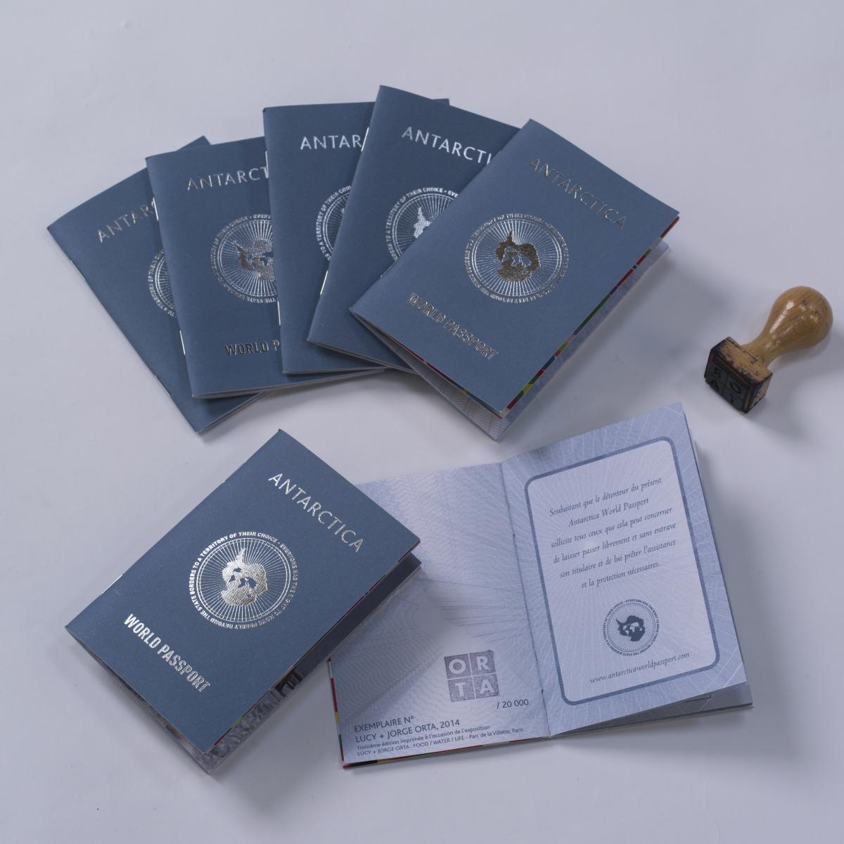 Passport designs for the Antarctica World Passport artwork (© Lucy + Jorge Orta)