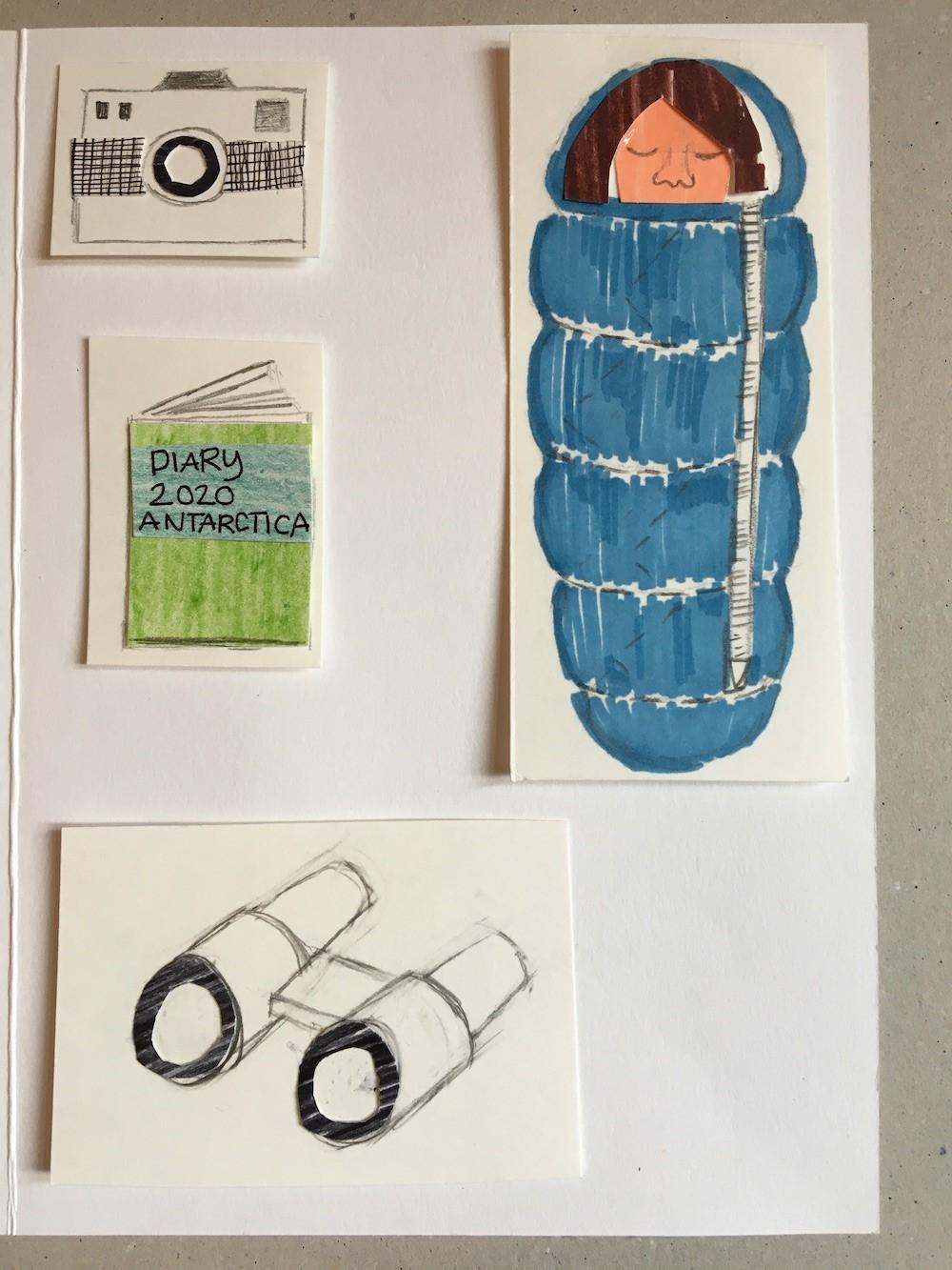 Drawings of a camera, diary, binoculars and a woman asleep in a sleeping bag
