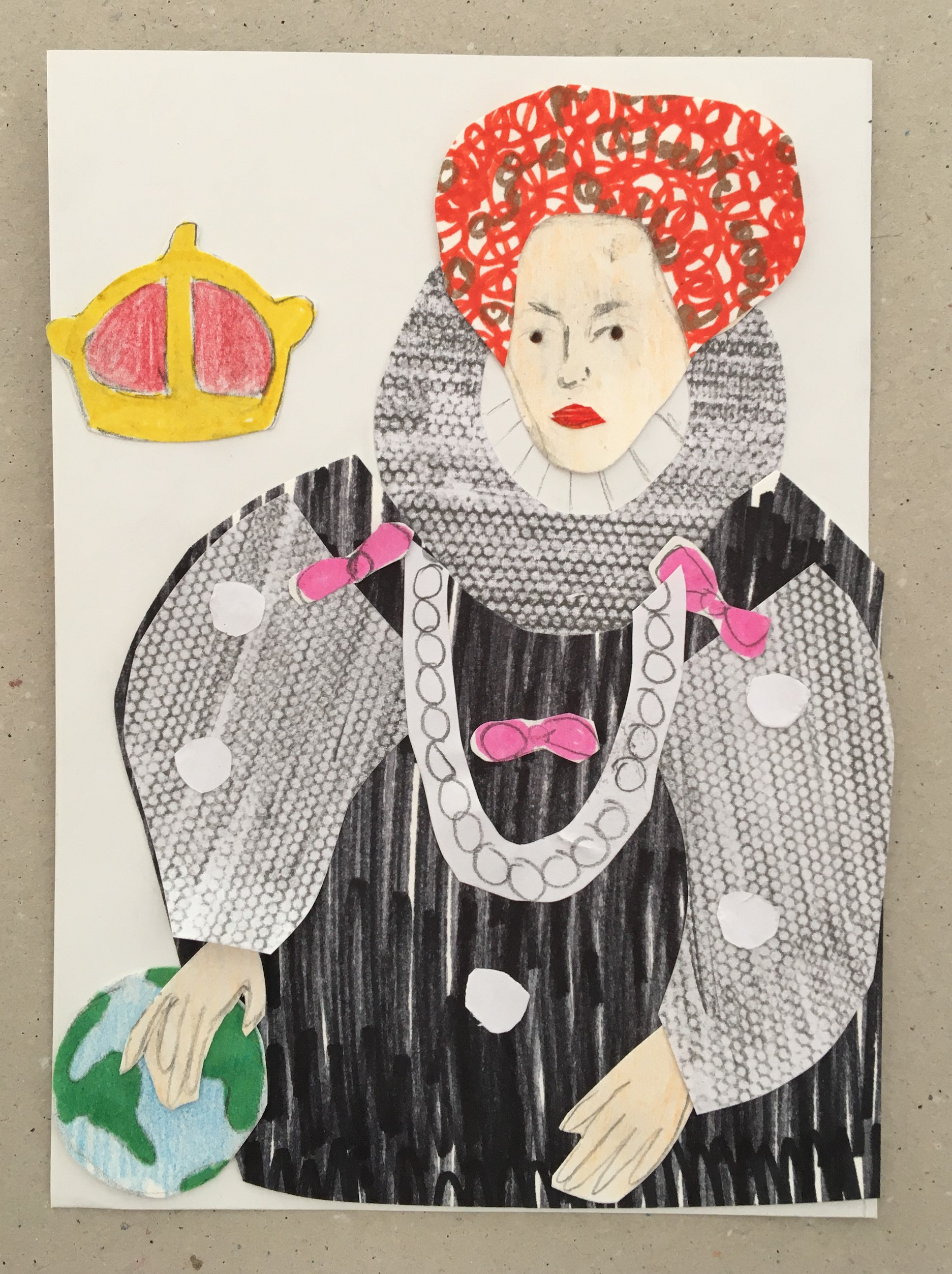 A collage of the Armada Portrait. Elizabeth 1 sits to one side. She wears a black dress with a ruff and pink ribbons. Her hand is on the Earth and a crown is next to her.