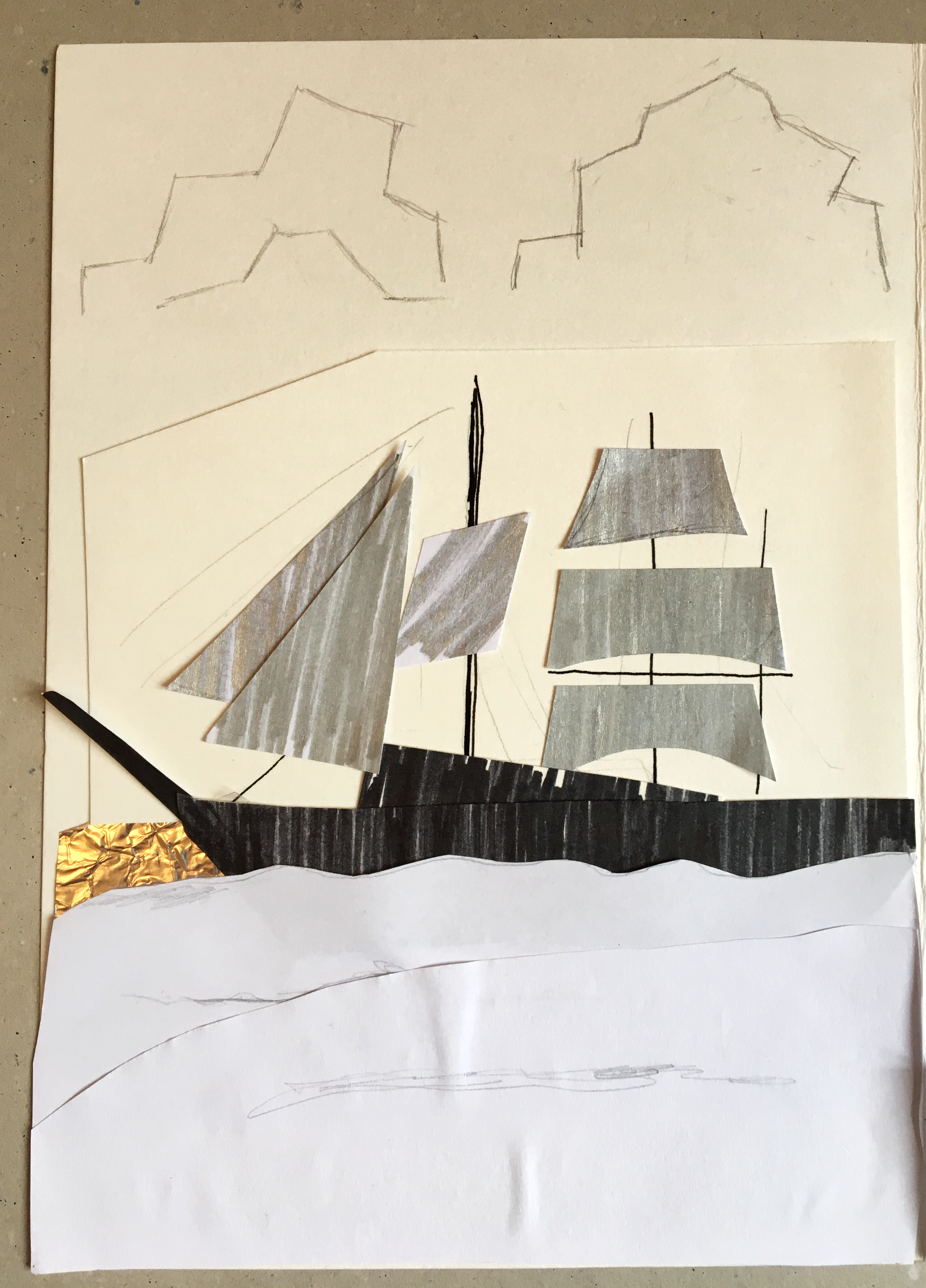 A boat created using collage. The base of the ship has been coloured black and tin foil has been used to create the sails.