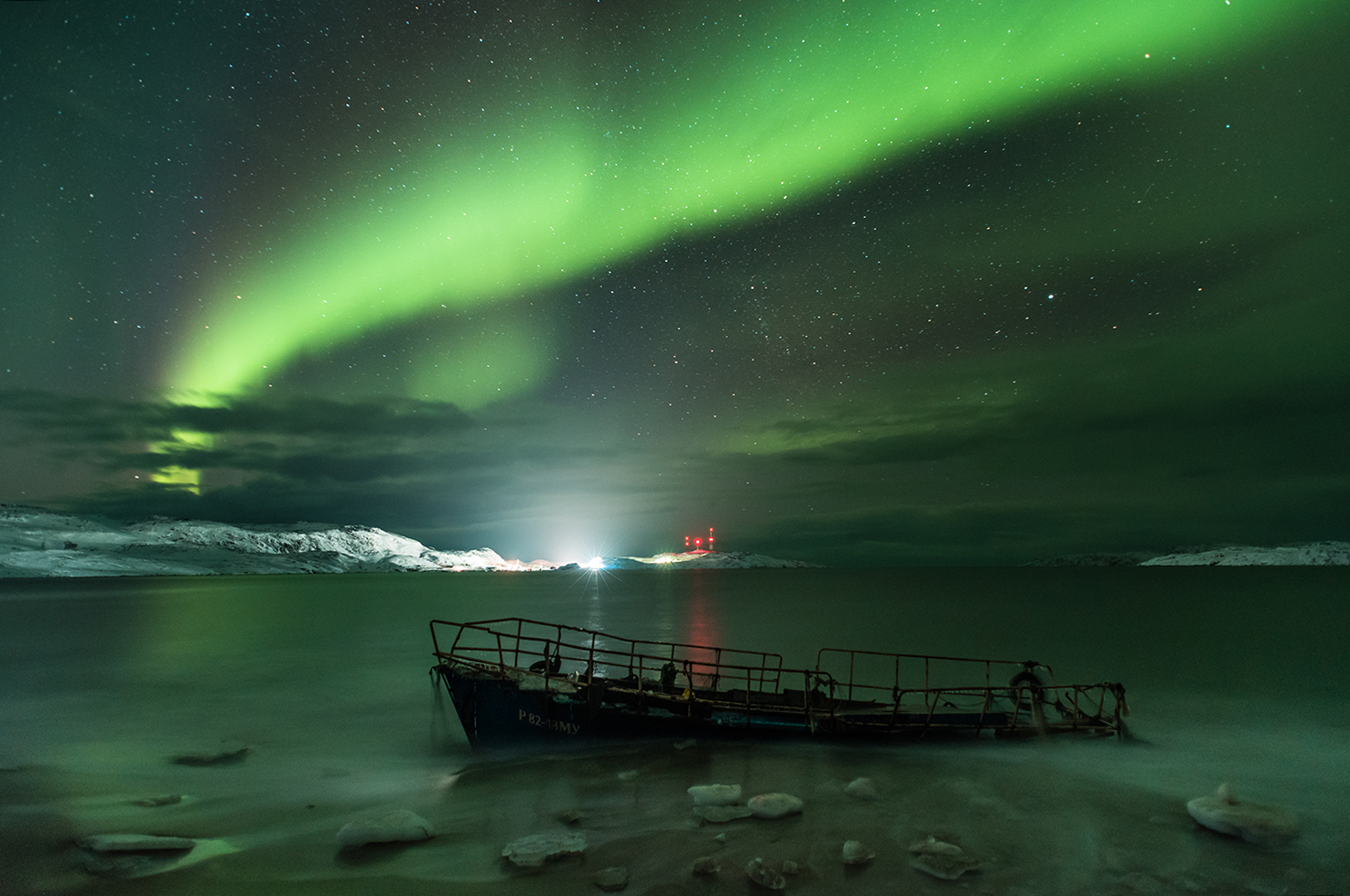 Aurora Borealis on the coast of the Barents sea © Michael Zav'yalov
