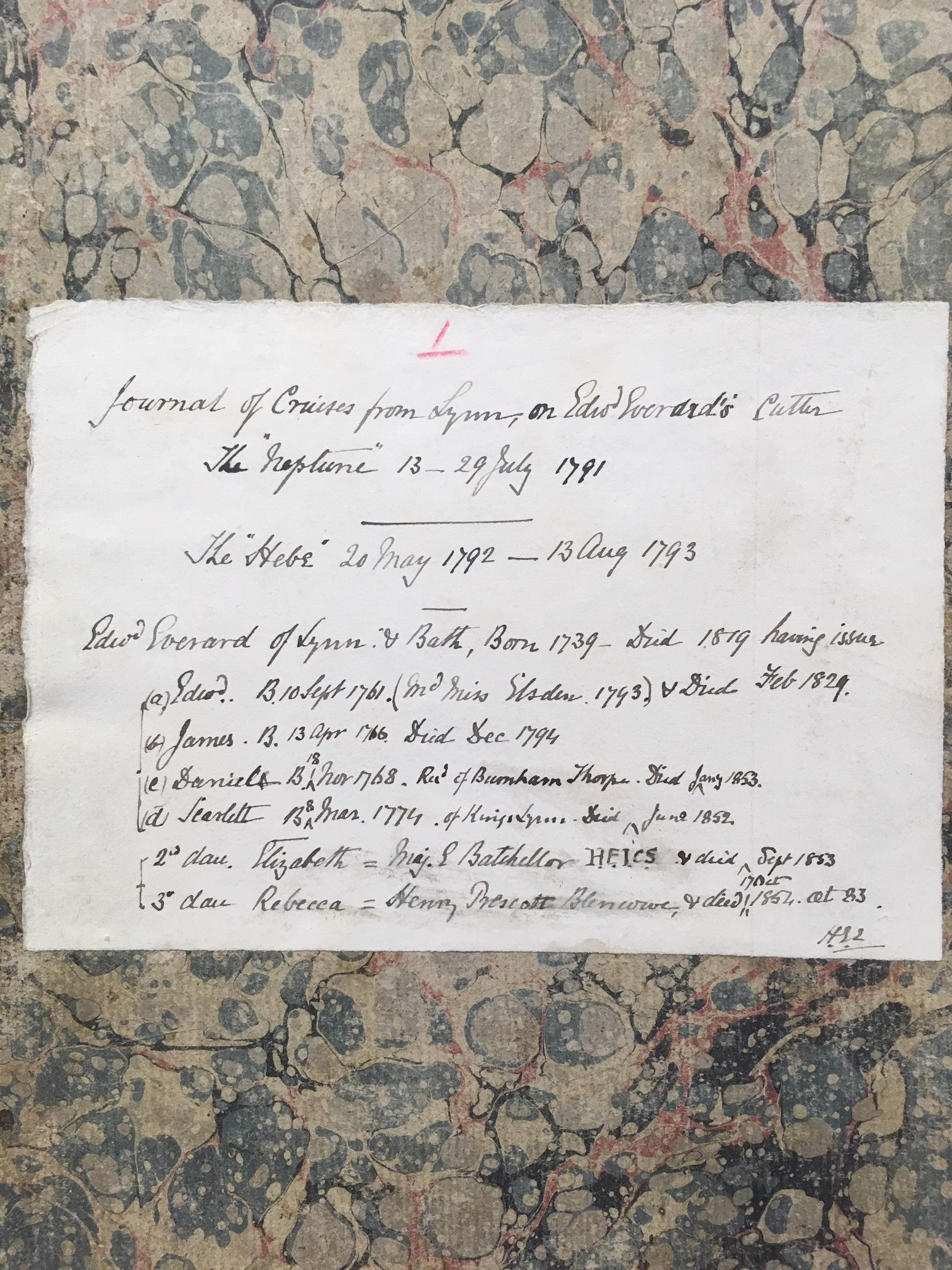 Front cover of Edward Everard's log of the NEPTUNE and HEBE, with family history note initialled by H. Everard, the author's great grandson.