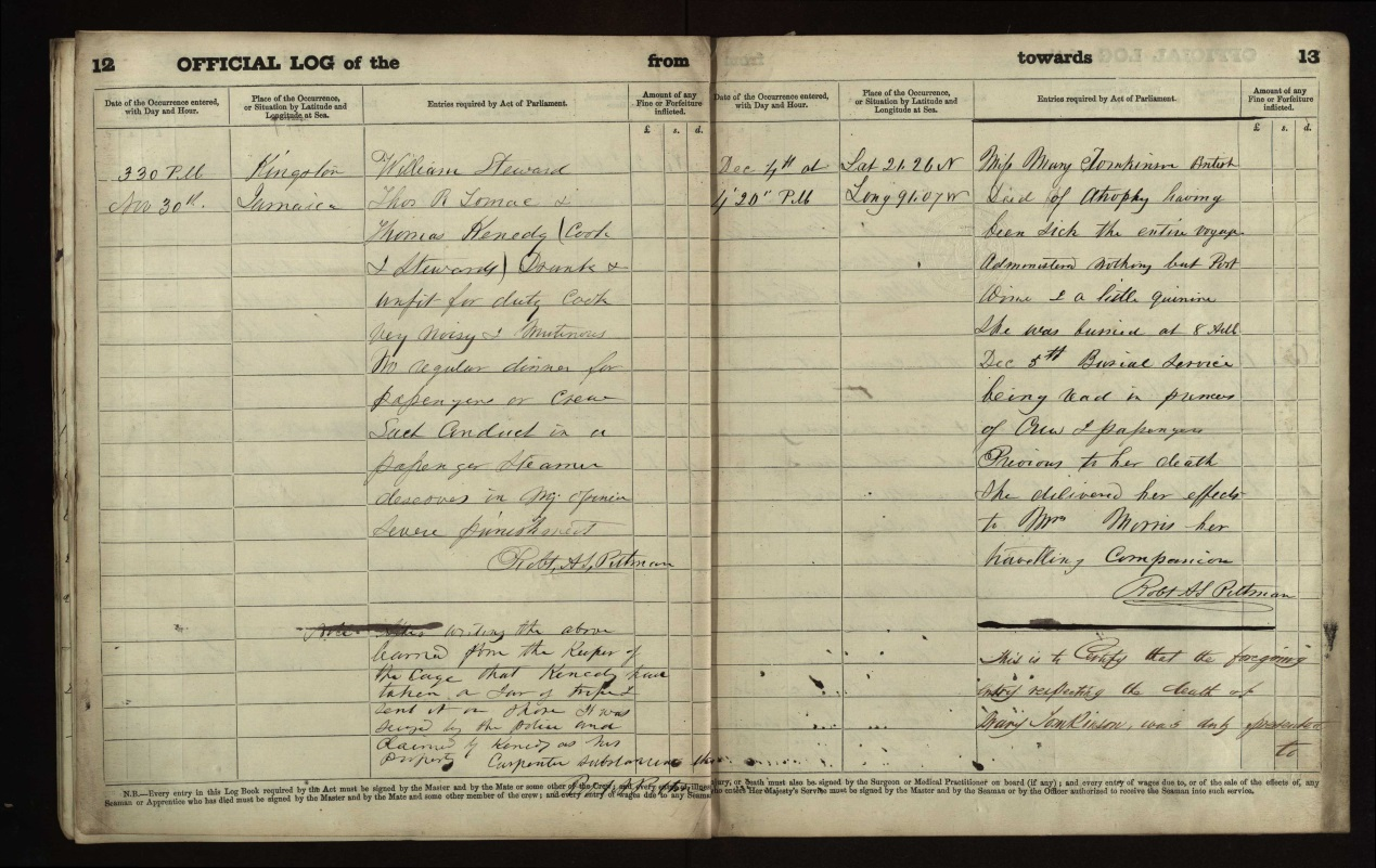 Example of a page from an Official Log of the vessel Palikari, from a voyage ending in 1865, recording the death of a passenger.