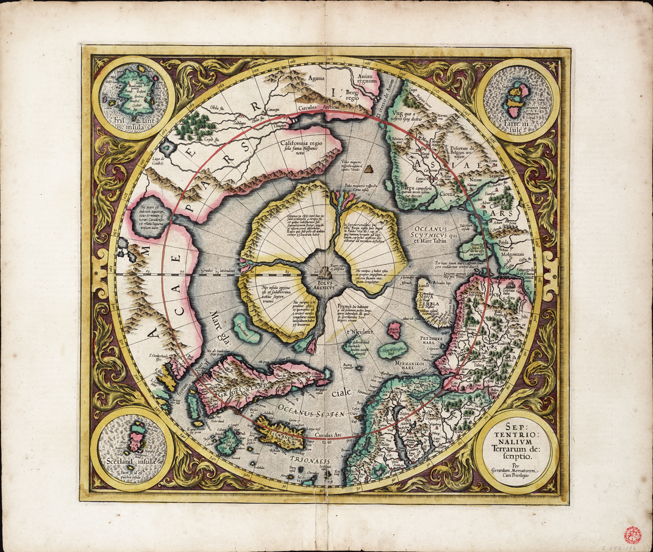 Early 17th Century map of the North Pole drawn by Geradus Mercator