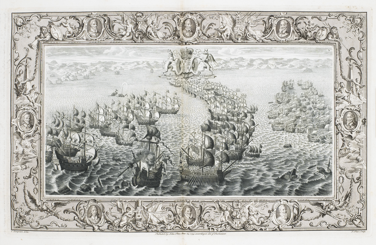 John Pine, Clement Lemprière and Henri Gravelot. Plate V: San Salvador of the Guypuscoan Squadron, being set on fire, is taken by the English. Etching, 1739