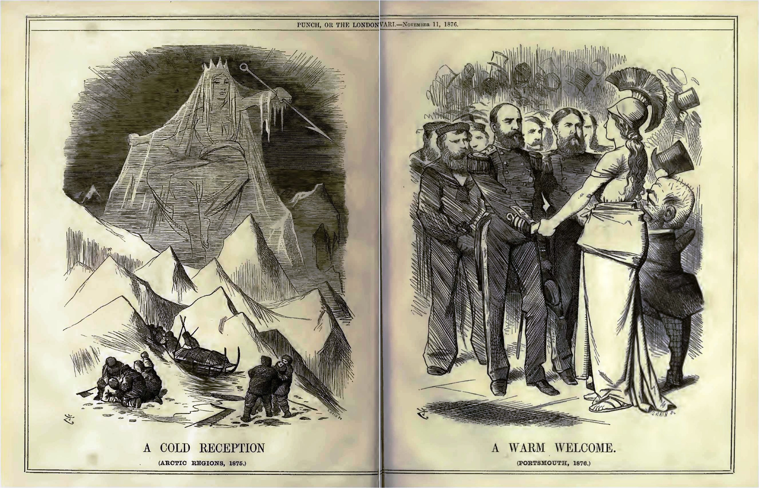 """A Cold Reception"" and ""A Warm Welcome"". Source: Punch, or the London Charivari, 71 (1876)."