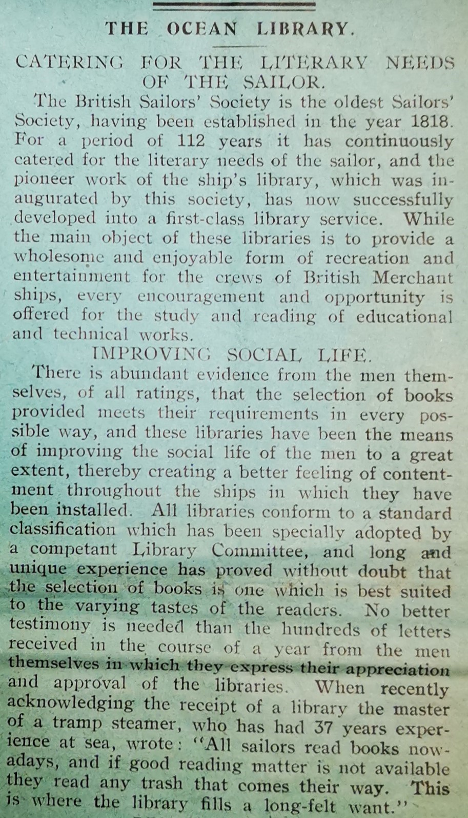 Article from the September 1931 issue explaining the benefits of the Ocean Library