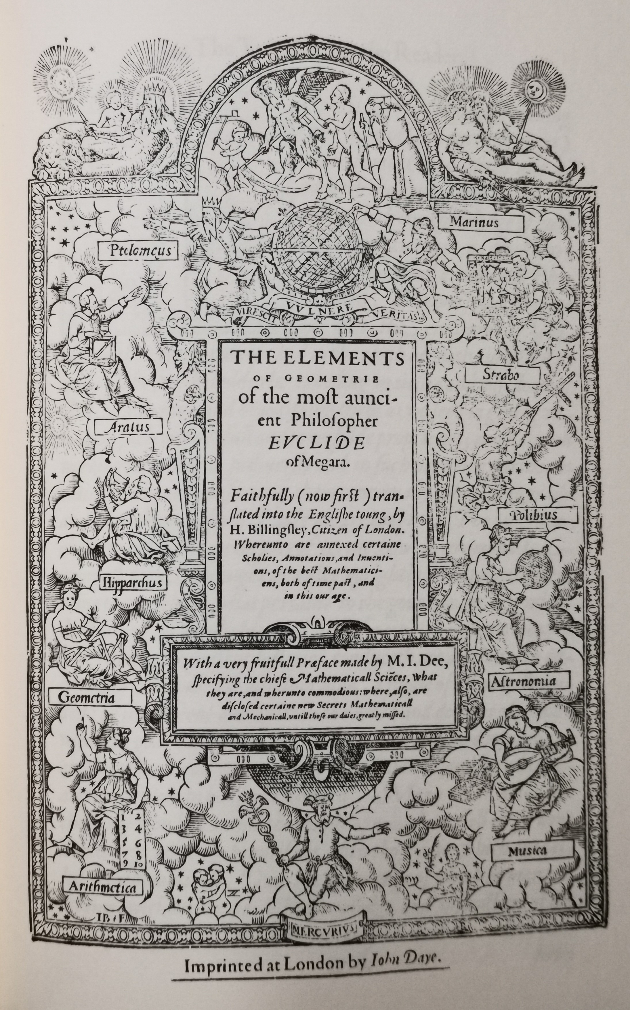 Title page for The mathematical Preface to the elements of geometrie of Euclid of Megara 1570