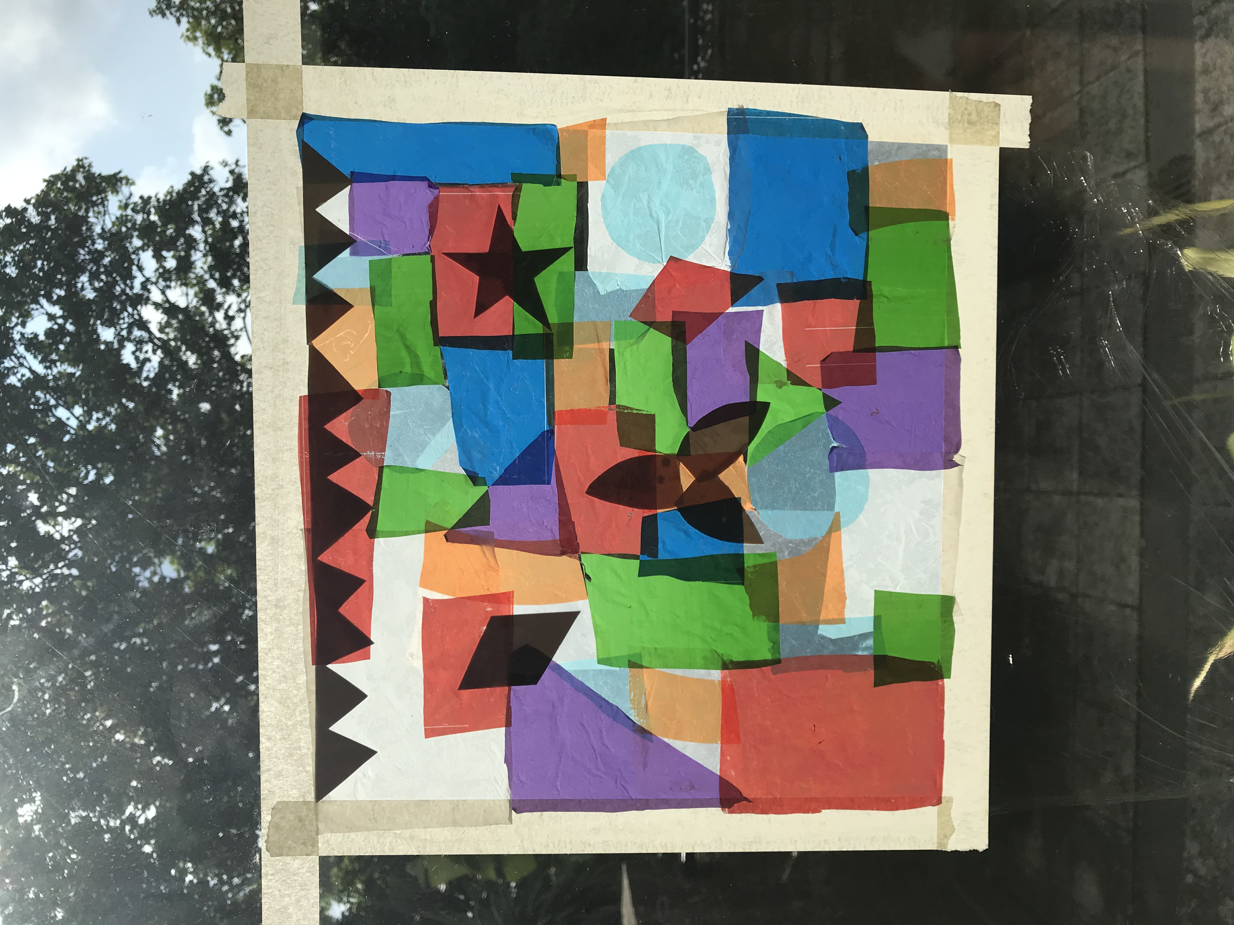 Stained glass window craft using plastic bags