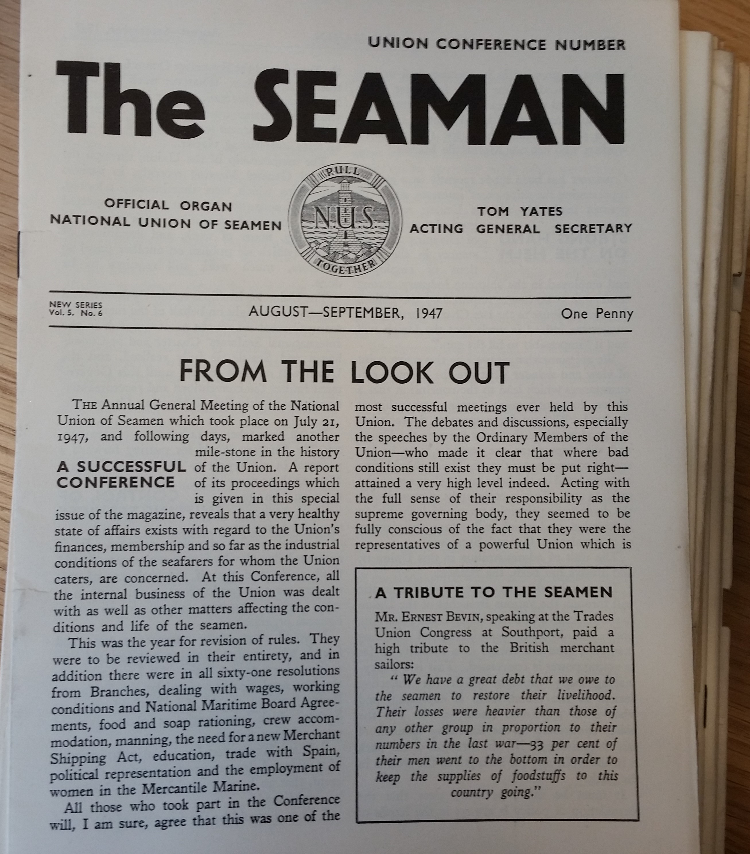 Front page of Aug-Sept 1947 issue of the Seaman