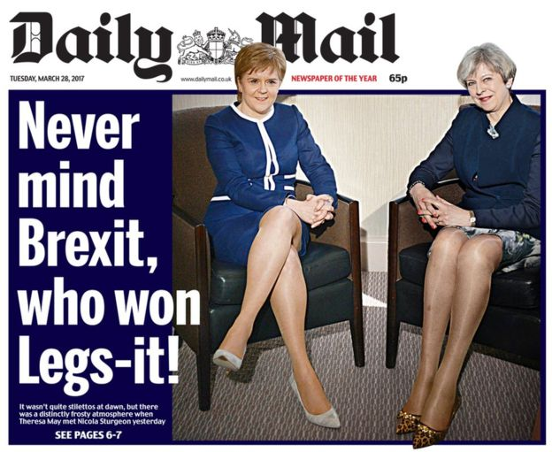 Image of 'Legs-it' Daily Mail 28 March 2018 headline