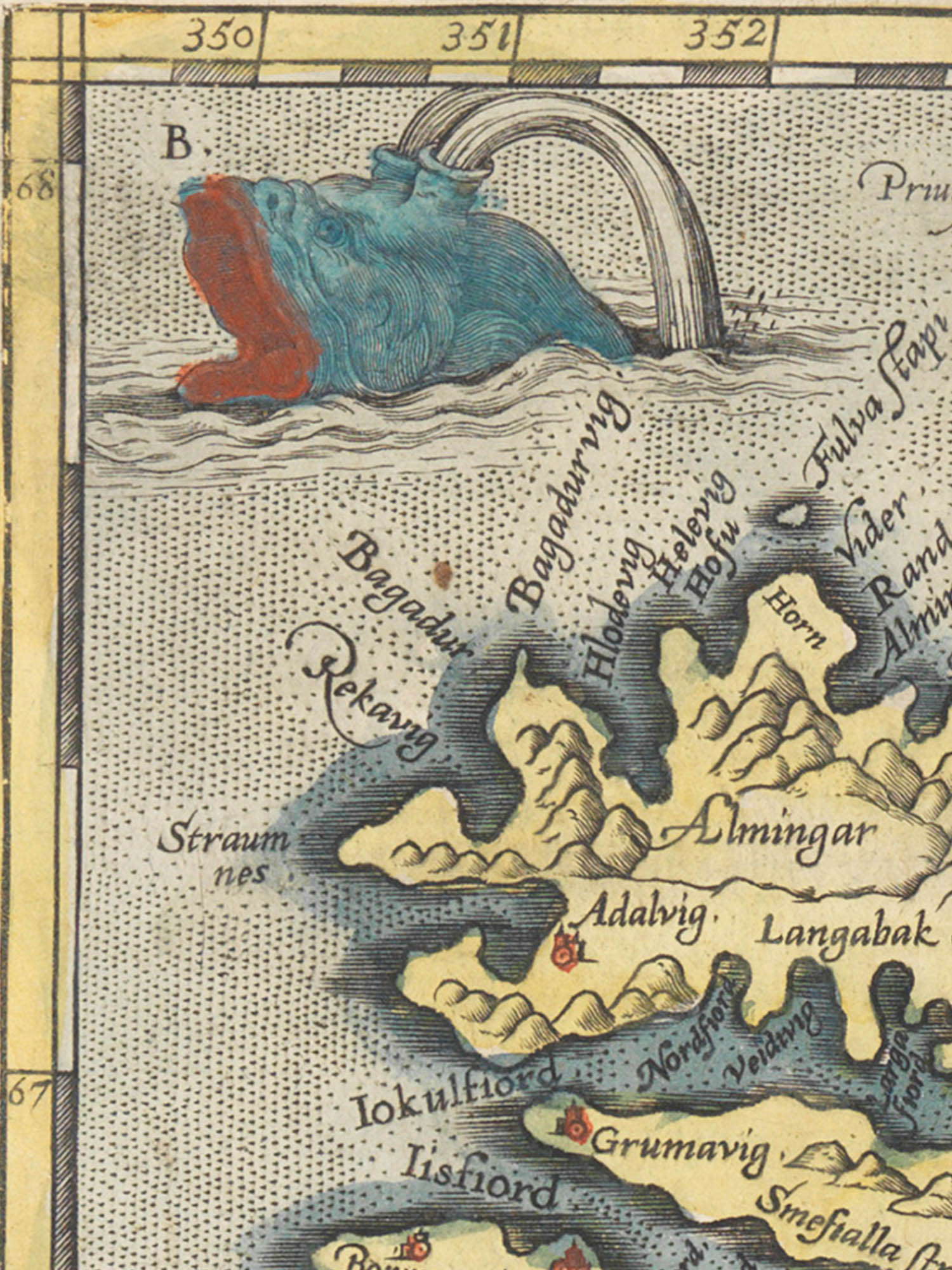"""Image of sea monster B from the Islandia map. """"Roider"""""""