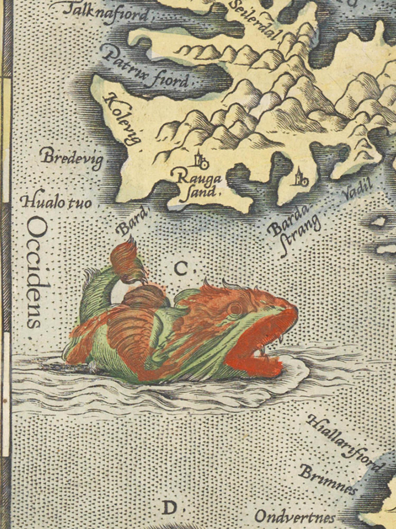 "Image of sea monster C from the Islandia map. ""Burchaulaur"""