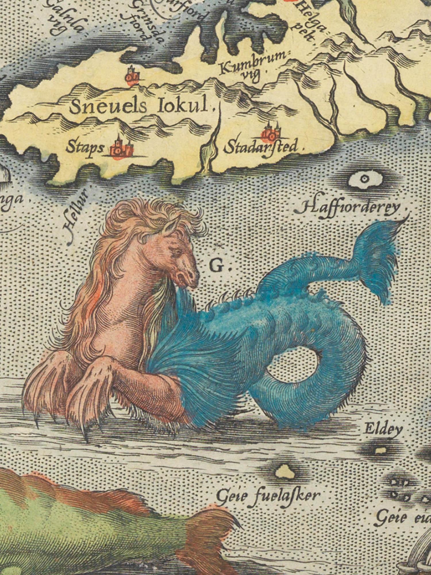 "Image of sea monster G from the Islandia map. ""Hroshaulur"""