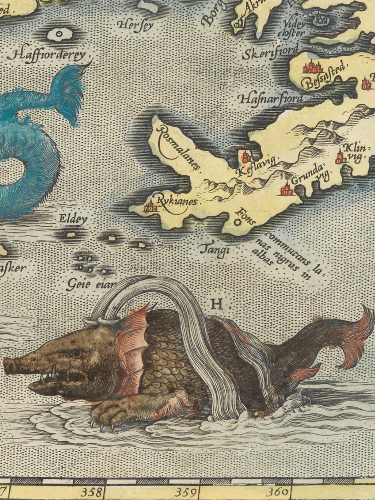 """Image of sea monster H from the Islandia map. """"The greatest kind of Whales"""""""