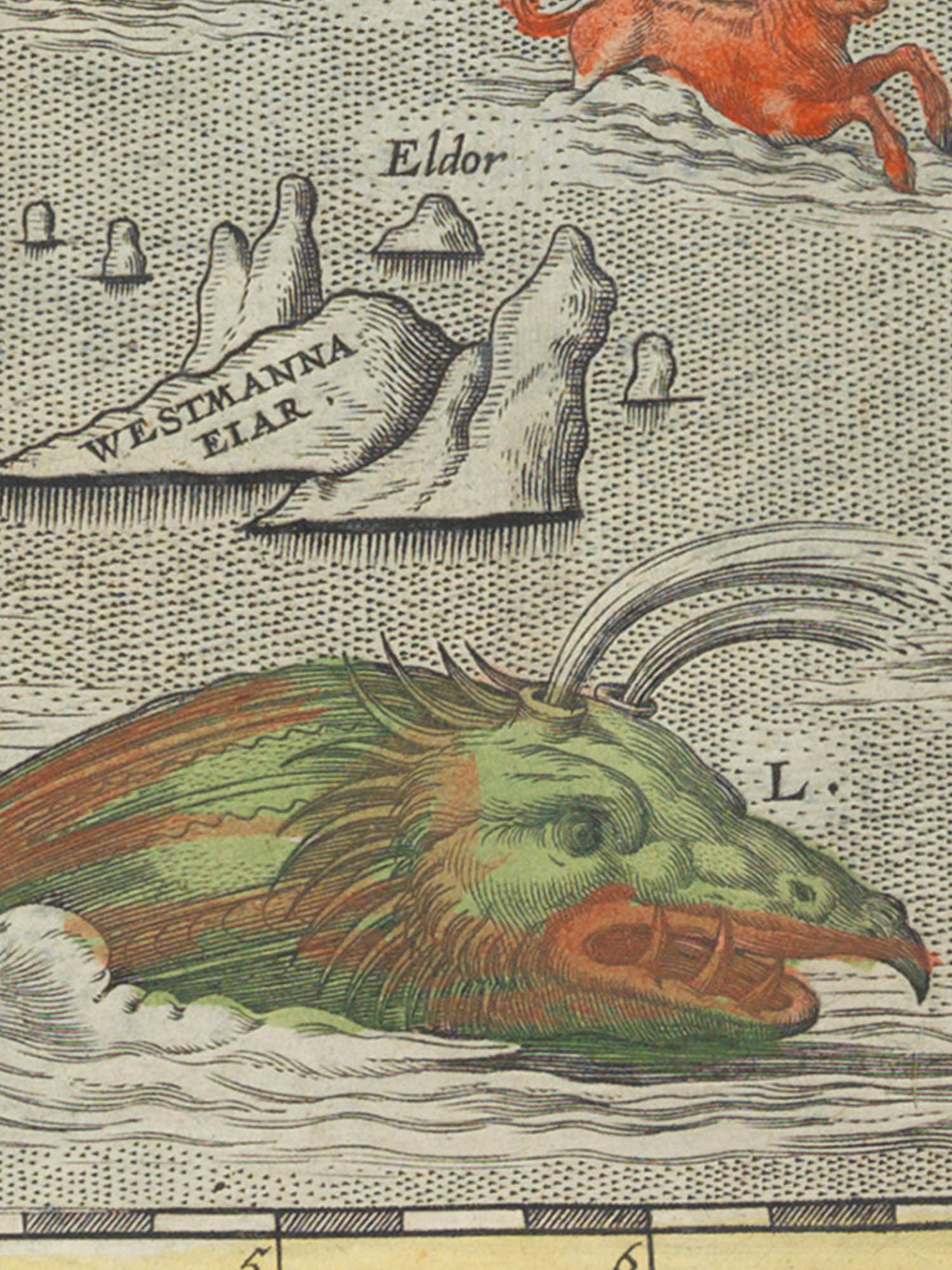 "Image of sea monster L from the Islandia map. ""Steipereidur"""