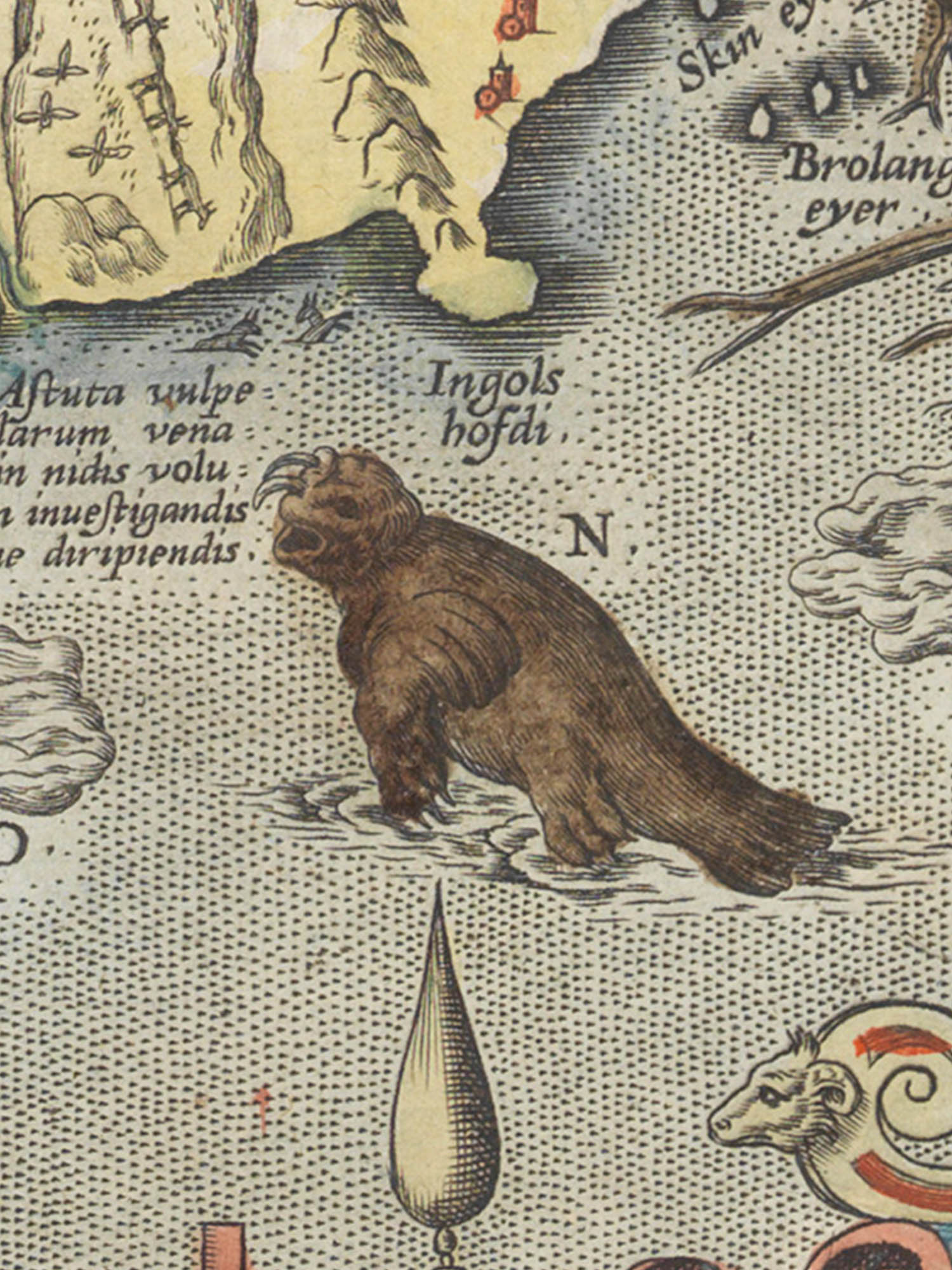 """Image of sea monster N from the Islandia map. """"Rostinger"""""""