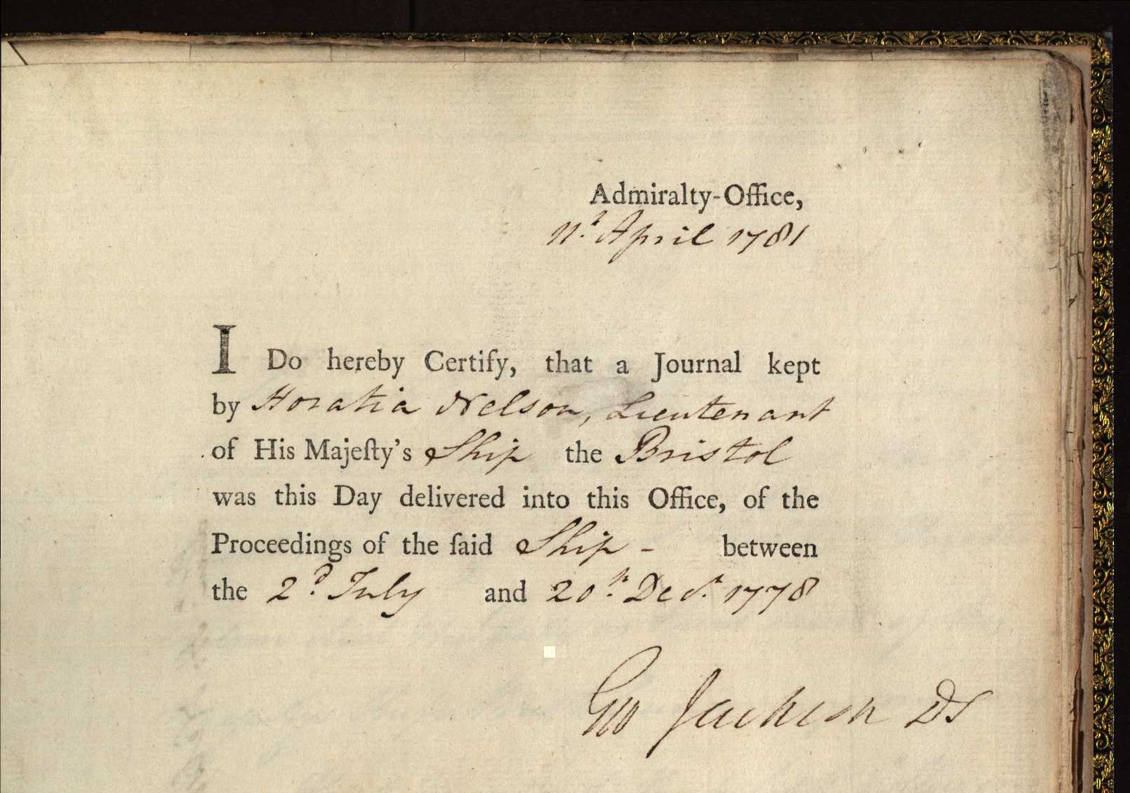 Admiralty certificate for receipt of Lieutenant Horatio Nelson's log book