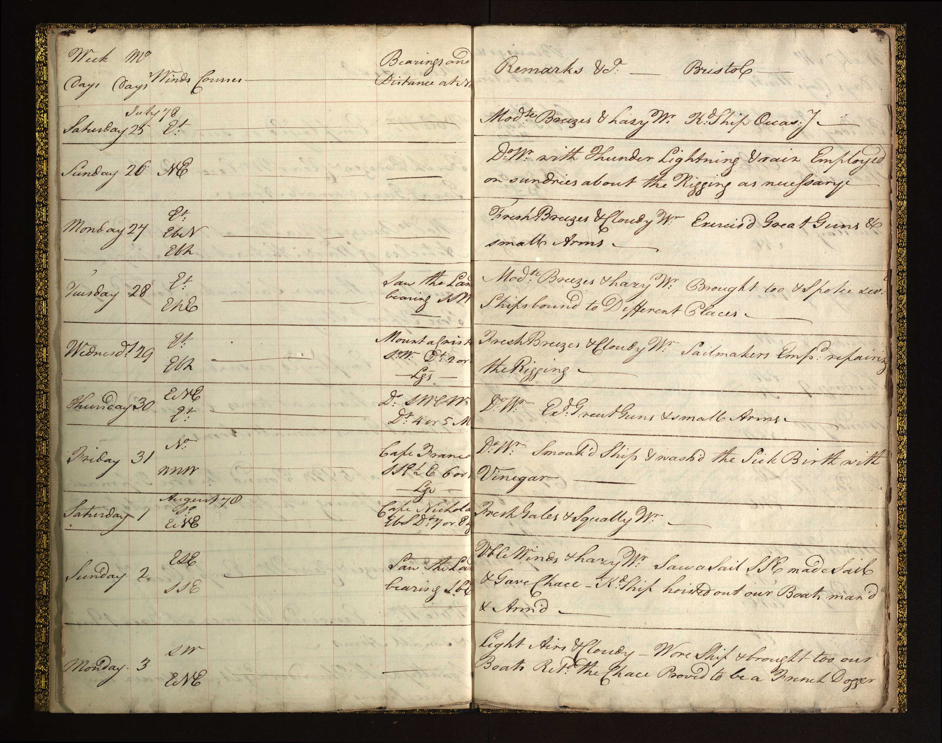 Log entry by Lieutenant Horatio Nelson, His Majesty's Ship Bristol, 25 July to 3 August 1778