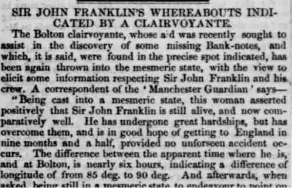 A newspaper headline, October 1849