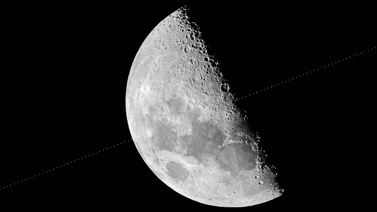 Hubble Space Telescope Transits across the Moon between Lunar X and Lunar V by Michael Marston Our Moon Astronomy Photographer of the Year 2019
