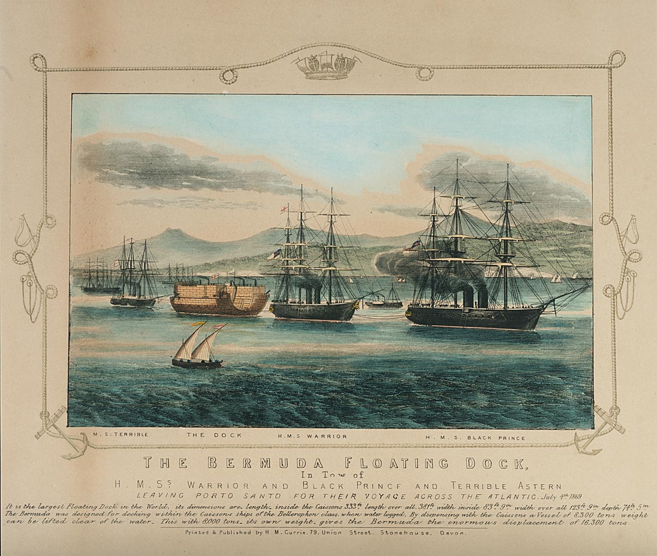 Coloured print showing the departure of the Bermuda floating dock from Porto Santo on 4 July 1869