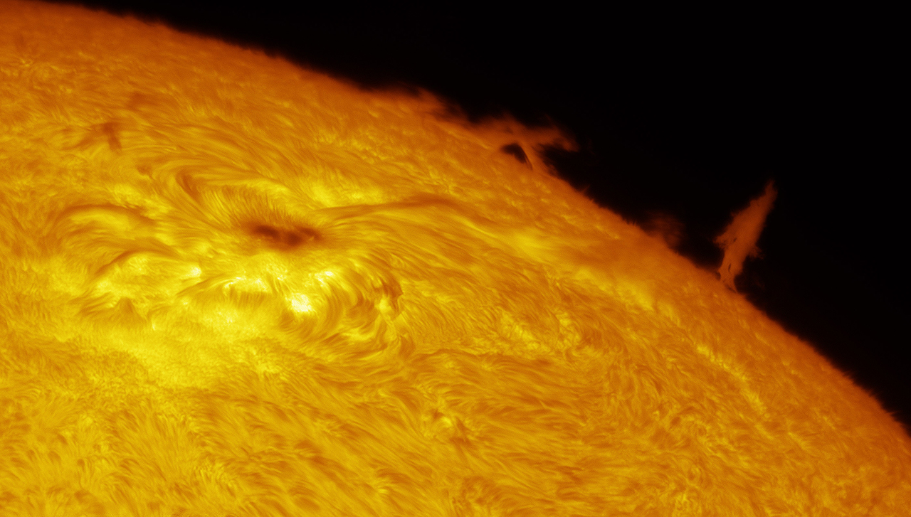 Solar Limb Prominence and Sunspot © Eric Toops