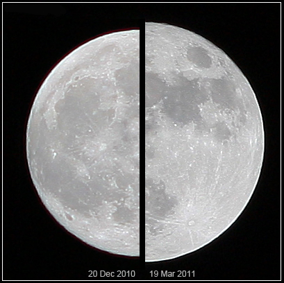Image of the Moon - Comparison between a micromoon and a supermoon