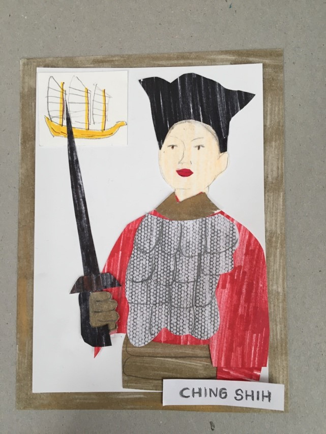 A collage of Ching Shi a Chinese female pirate. She wears a black hat, red top with chain mail over it and holds a sword. A small picture of a junk is behind her.