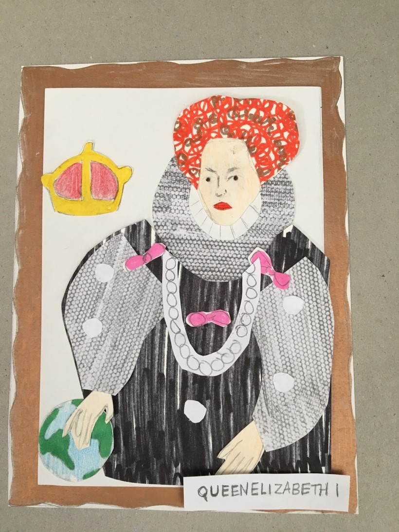 A collage of the Armada Portrait. Elizabeth 1 sits to one side. She wears a black dress with a ruff and pink ribbons. Her hand is on the Earth and a crown is next to her. There is a gold frame around the picture and a label saying Elizabeth 1 at the base