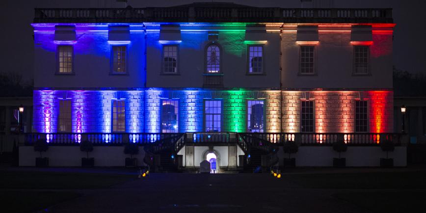 The Queen's House in Greenwich lit up with rainbow lights to mark LGBTQ+ History Month