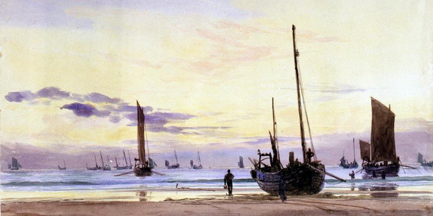 A tranquil scene of fishing boats by the shore, painted in watercolour