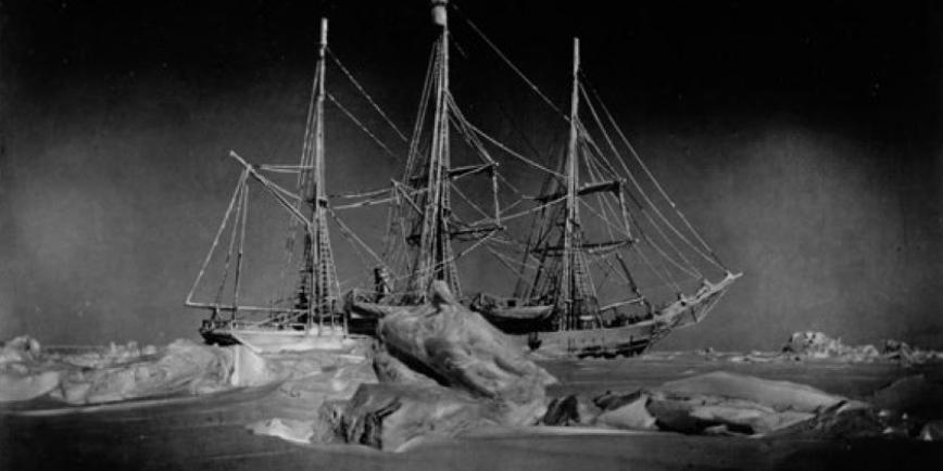 Photograph of the ship, Belgica, stuck in the ice
