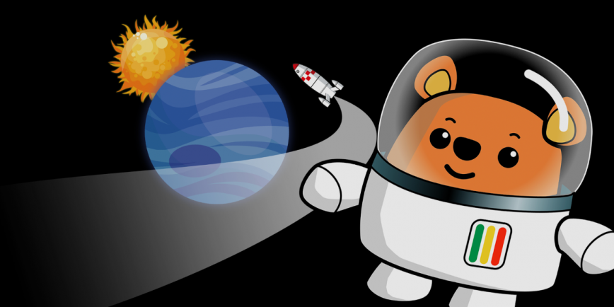 Ted the bear with a rocket, blue planet and the Sun