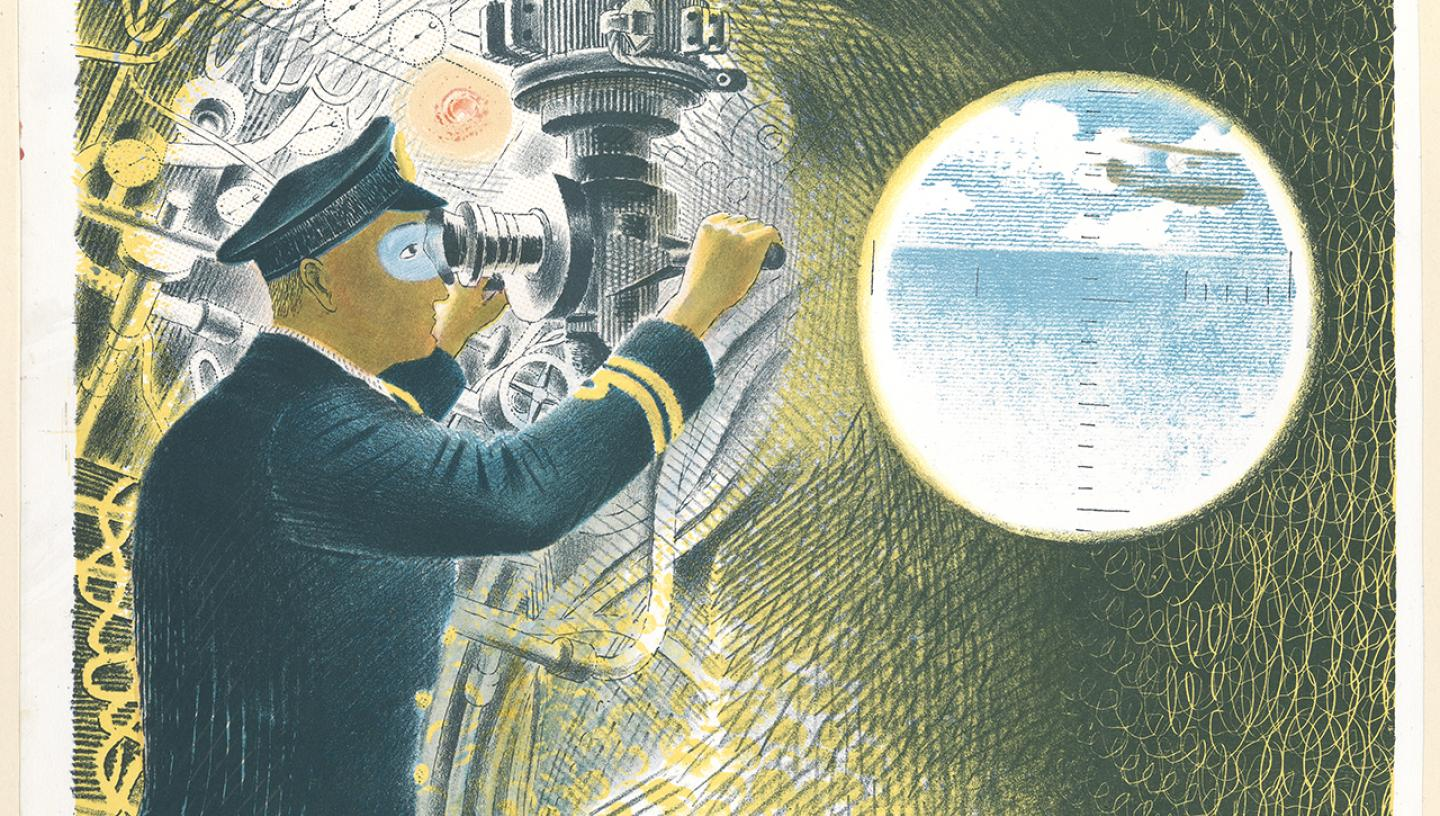 Officer looking through a periscope by Eric Ravilious