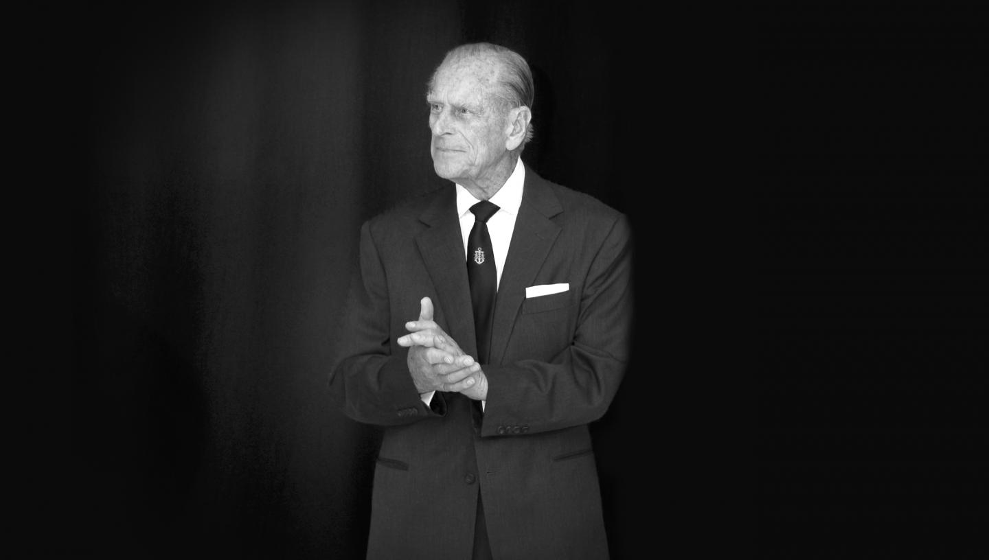 A black and white portrait of His Royal Highness the Duke of Edinburgh at the National Maritime Museum