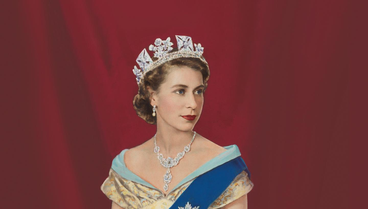 A portrait of a young Elizabeth II against a red backdrop
