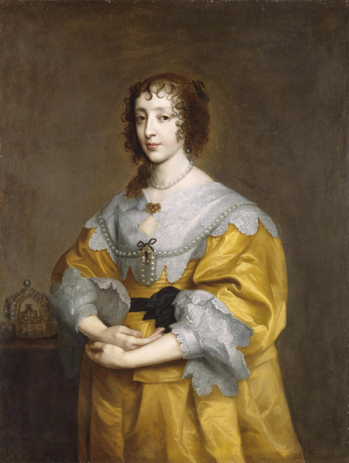 An image showing 'Henrietta Maria, after Sir Anthony Van Dyck, 17th century, based on a work of about 1632-35'
