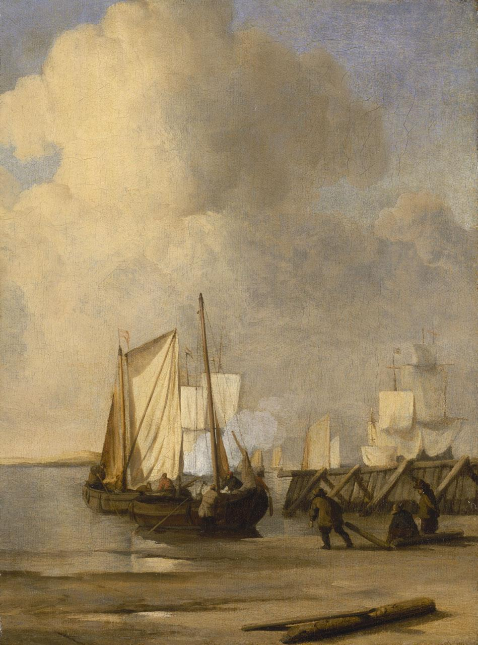 An image showing 'A Kaag Coming Ashore Near a Groyne with Ships and Vessels Under Sail Beyond'