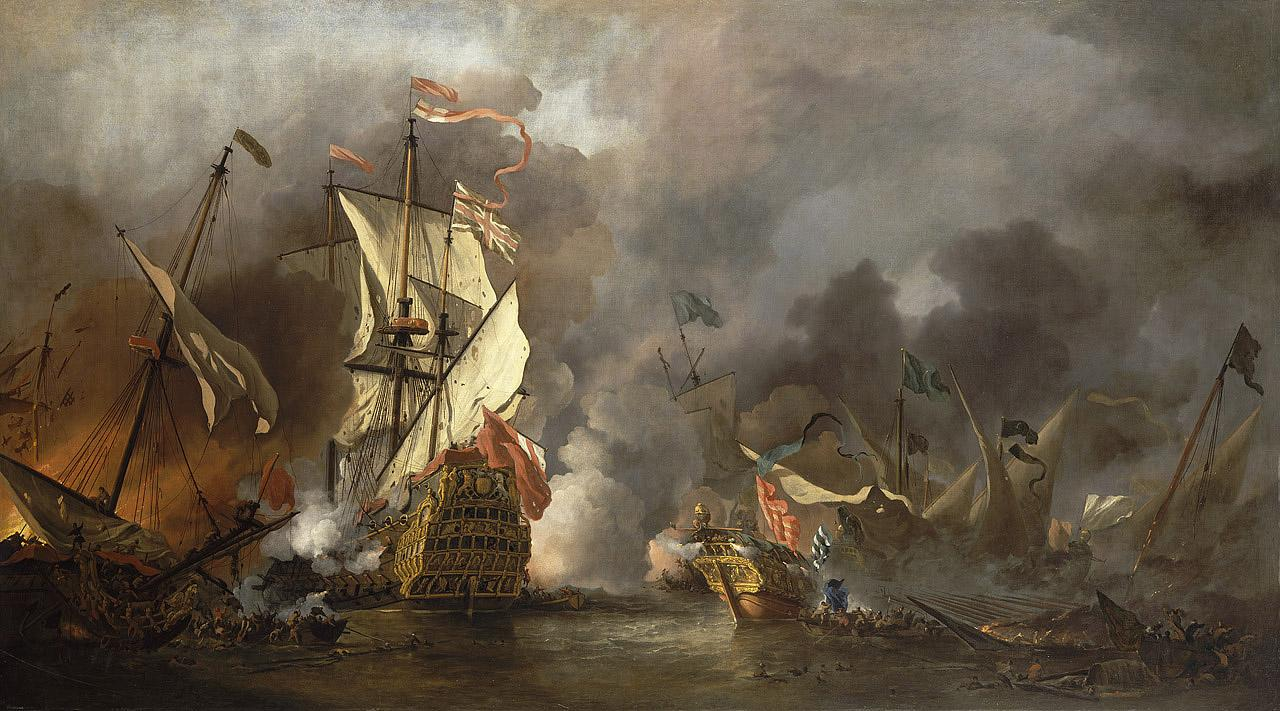 An image showing 'An English Ship in Action with Barbary Vessels'