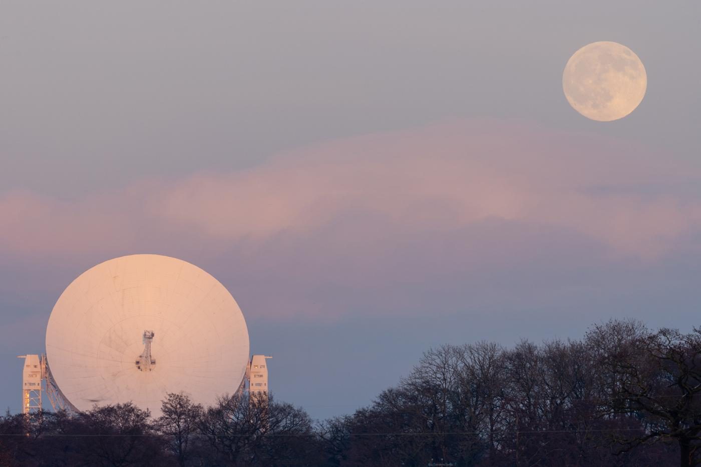 An image showing 'Moonrise over Jodrell Bank'
