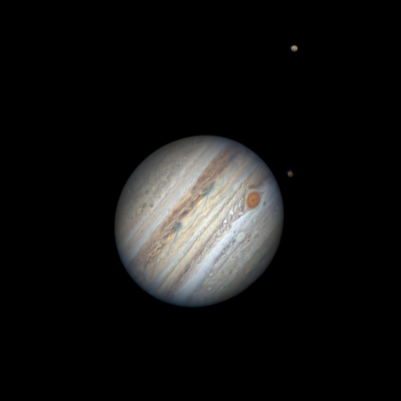 An image showing 'Jupiter, Ganymede and Calisto'