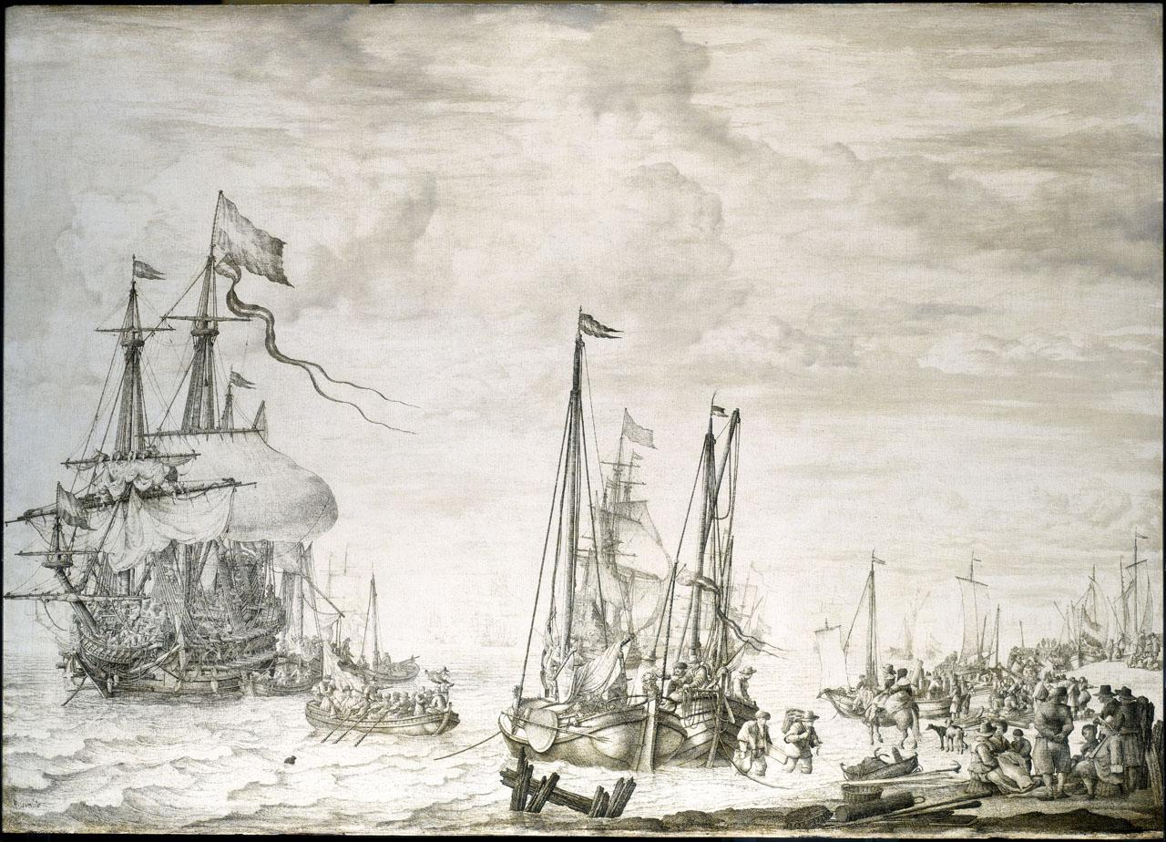 An image showing 'A Dutch flagship, thought to be the Eendracht, at anchor close in'
